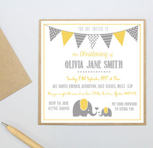 Personalised Elephant Christening Invitations - christening invitations