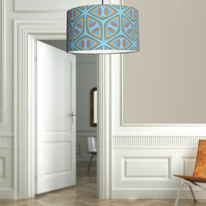 Blue Wheel A Stunning Fabric Lampshade For The Home - dining room