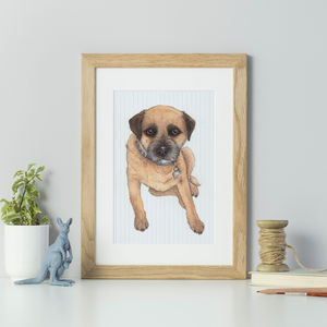 Personalised Pet Portrait With Geometric Background