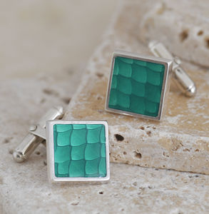 Green Enamel Silver Cufflinks - men's accessories