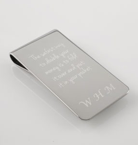 Personalised Steel Money Clip - mens
