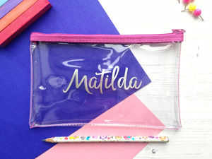 Personalised Clear Pencil Case In Choice Of Colours - writing