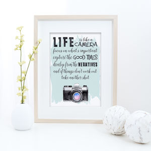 Life Is Like A Camera Inspirational Typography Print