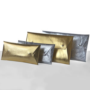 Metallic Leather Clutch Bag Or Pouch - gifts for her