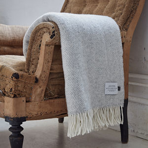 Cashmere And Merino Light Grey Throw - blankets & throws