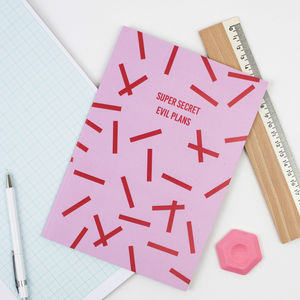 'Super Secret Evil Plans' A5 Notebook - stocking fillers