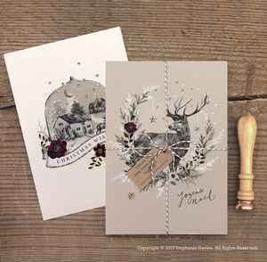 Pack Of Luxury Christmas Deer And Globe Cards