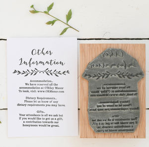 Wedding Info/Menu Stamp With Natural Sprig