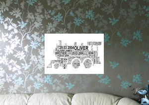 Personalised Child Or Adult Train Word Art - pictures & prints for children