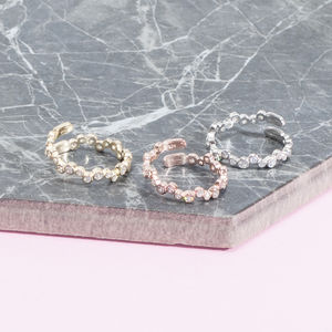 Pave Stacking Ring In Gold, Rose Gold And Silver
