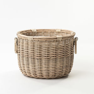 The Chancery Basket With Handle Detail - log baskets