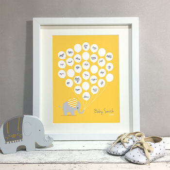 Elephant Personalised Baby Shower Guest Book Print