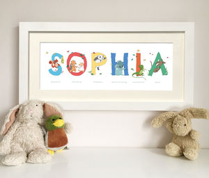 Personalised Child's Framed Name Print - children's room