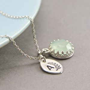 Blue Chalcedony Sterling Silver Initial Necklace - necklaces & pendants