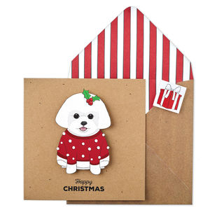 Personalised Christmas Bichon Frise Xmas Card