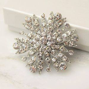 Vintage Diamante Flower Brooch - pins & brooches