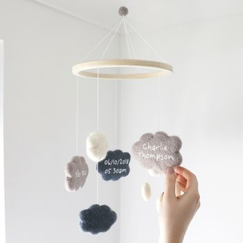 Personalised Felt Cloud Pom Pom Cot Mobile