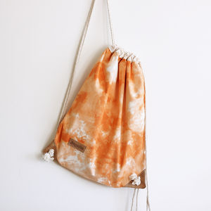 Orange Shibori Drawstring Bag