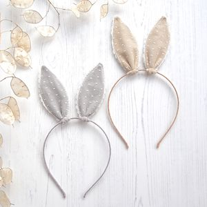 Cotton And Lace Bunny Rabbit Ears Hairband