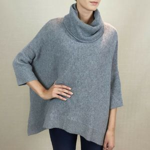 100% Cashmere Oversized Roll Neck Poncho Jumper