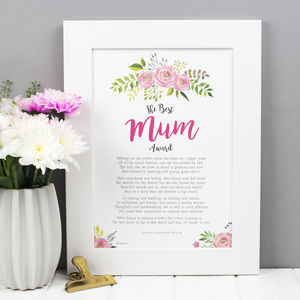Mum Gift Poem Print - our top mother's day gifts