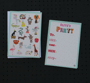 12 Child's Party Invites Pets Design - childrens party invitations