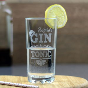 Gin And Tonic Personalised High Ball Glass