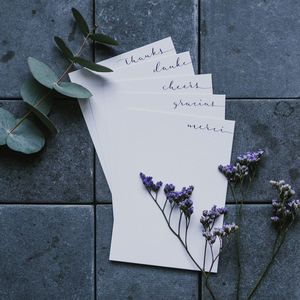 Set Of Five Thank You Notecards
