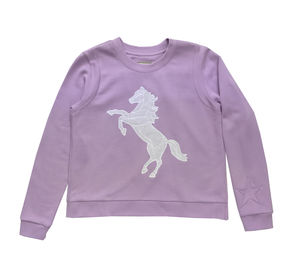 Cotton Applique Horse Sweat Shirt - clothing