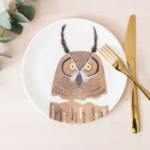 Nocturnal Owl And Mole Bone China Plate