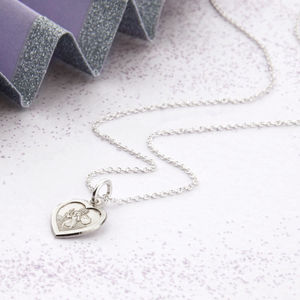 Personalised Tiny Silver St Christopher Heart Necklace