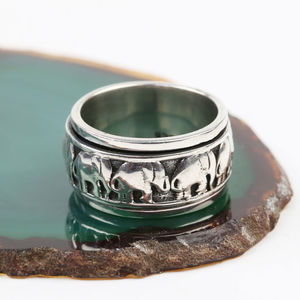 Sterling Silver Spinning Elephant Ring - rings