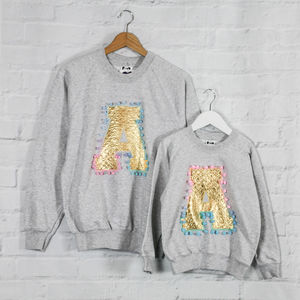 Mother And Child Personalised Gold Sweatshirt Set - clothing