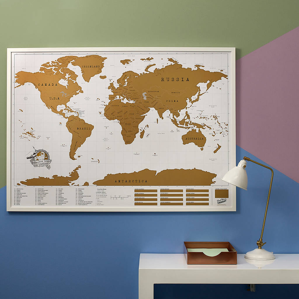 Map Of Wurope%0A World Scratch Map  canvas prints  u     art