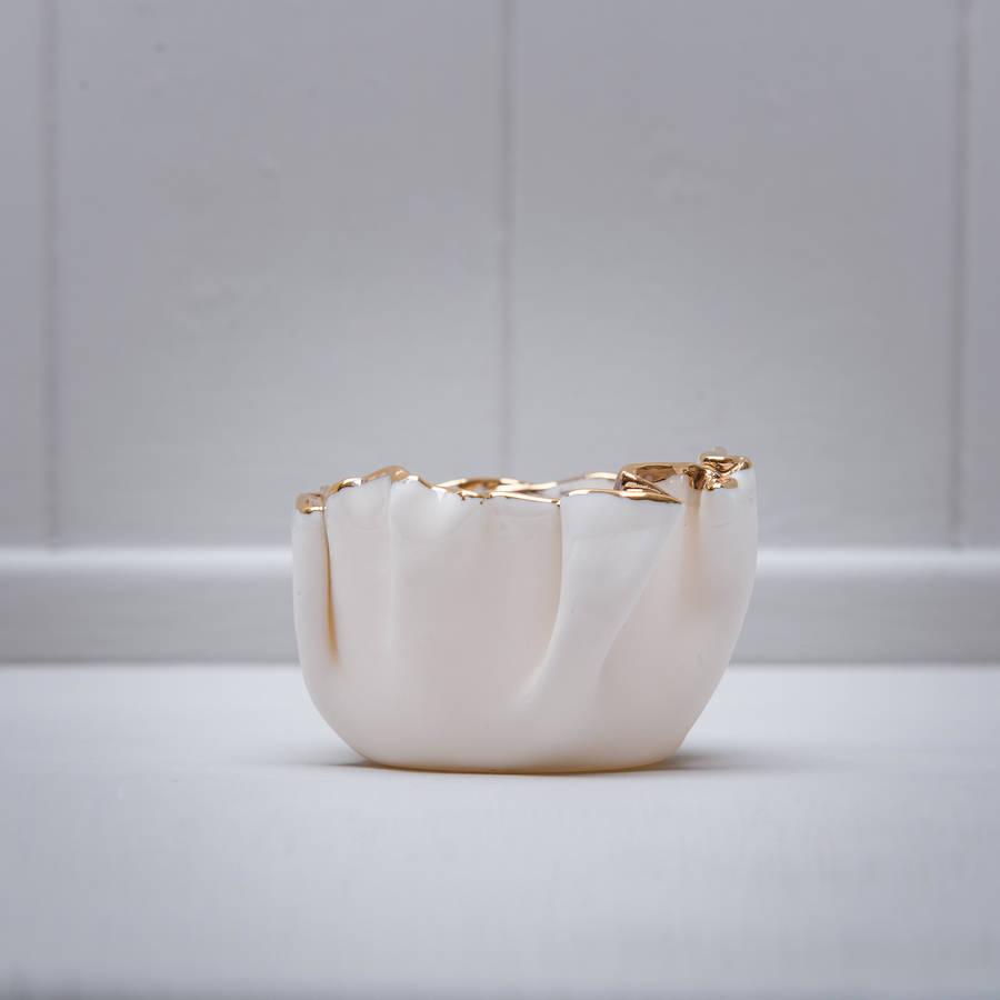 Porcelain tea light with gold lustre by martha 39 s grandad for Lustre original