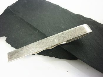 Brushed Sterling Silver Tie Slide