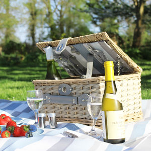 Wicker Picnic Basket With Blanket - picnics & barbecues