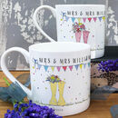 Personalised Wedding 'Mrs And Mrs' Welly Boot Mugs