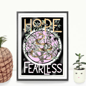A4 Hope Is Fearless Motivational Quote Art Print - animals & wildlife