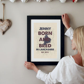 Personalised Born And Bred Counties Print