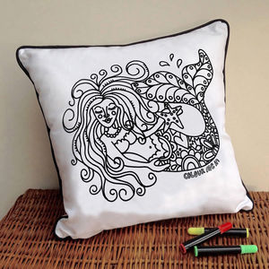 Mermaid Cushion To Colour In - children's room