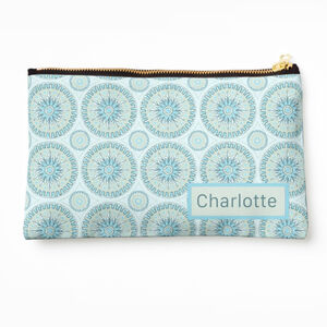 Personalised Blue And Grey Mandala Make Up Bag