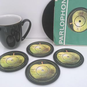 Personalised Vinyl Coasters Beatles Set Of Four