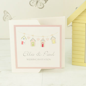 Beach Hut Pocketfold Wedding Invitation