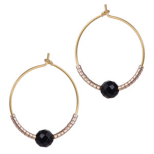 Faceted Onyx And Petite Bead Hoops - earrings