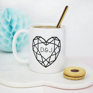 Jewelled Heart Personalised Initial Ceramic Mug