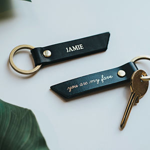 Personalised 'You Are My Fave' Coloured Leather Keyring - gifts for him