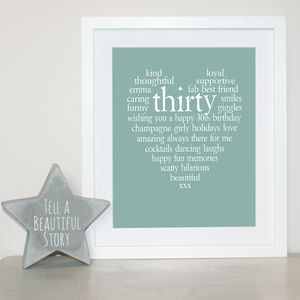 Personalised 30th Birthday Print - for her