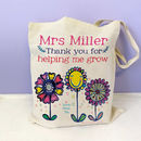 Personalised Thank You For Helping Me Grow Teacher Bag, 3 flowers design - cotton bag