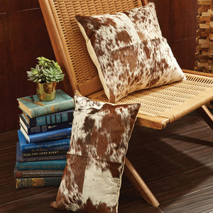 Brown And White Cowhide Cushion - living room